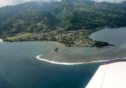 Vue aérienne de Mahina. © Tahiti Héritage
