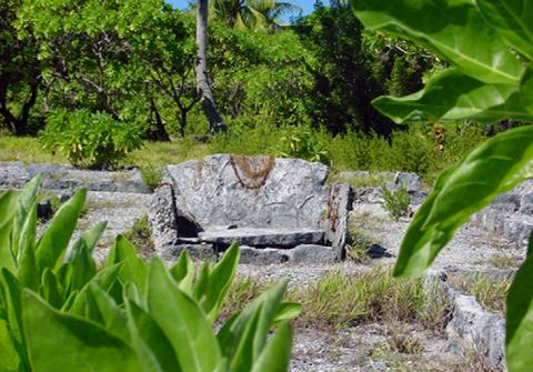 La chaise du Roi Tu-Paure à Mataiva
