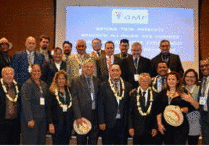 Les délégations des maires et des élus municipaux de Nouvelle-Calédonie et de Polynésie française rassemblés dans la salle de conférence de l'AMF à Paris.