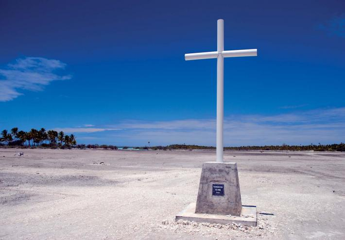 Croix du pélerinage à Fakahina. Crédit photo Tahiti Héritage